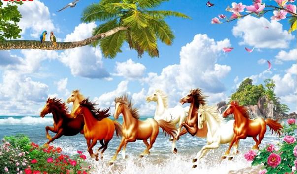 mẫu tranh ngựa phi ra biển lớn