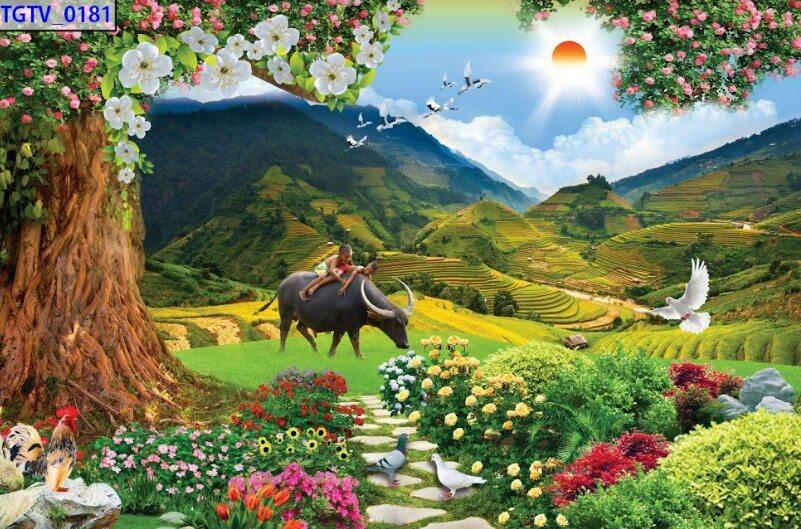 mẫu tranh dán tường phong cảnh đẹp như mơ