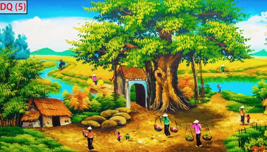 tranh dán tường đồng quê đẹp