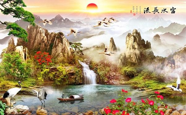 tranh có thác nước và đồi núi