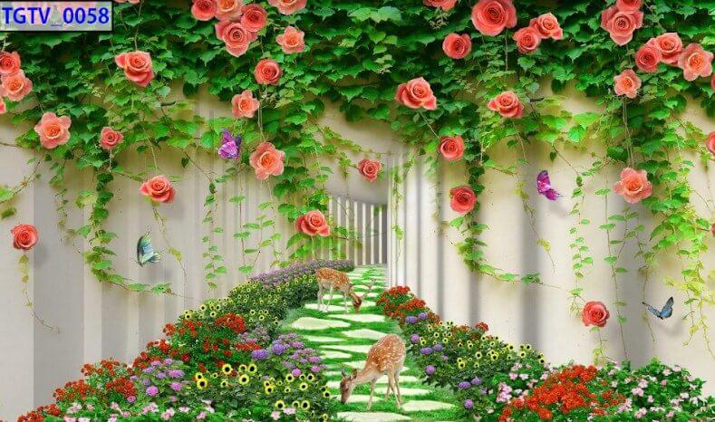 tranh dán tường hoa lá đẹp sắc nét