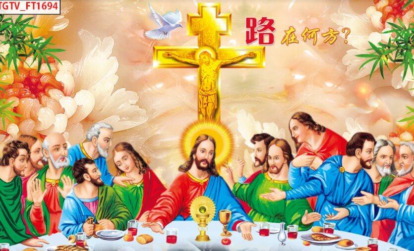 mẫu tranh dán tường tôn giáo