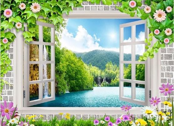 mẫu tranh cửa sổ cho phòng khách