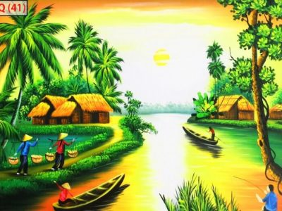 Mẫu tranh 3d đẹp phong cảnh quê hương