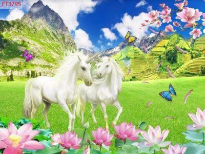 Mẫu tranh song mã 3d ngựa trắng