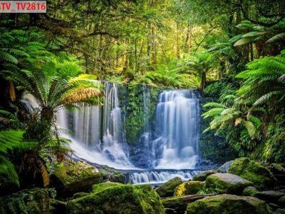 Tạo không gian đẹp với mẫu tranh 3d thác nước
