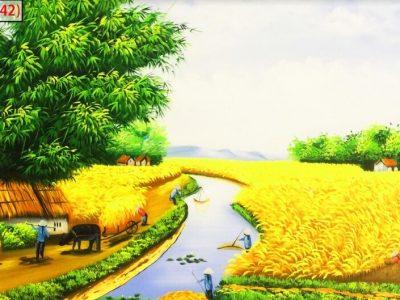mẫu tranh đồng quê cây lúa