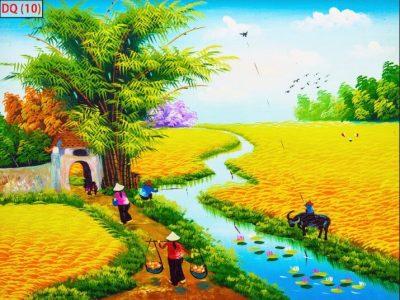 mẫu tranh 3d phong cảnh đồng quê