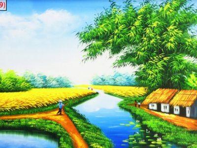 Tranh dòng sông quê hương