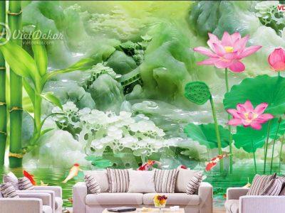 in tranh dán tường 3d hoa sen