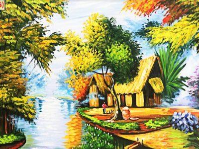 Lũy tre làng được thể hiện trên bức tranh 3d