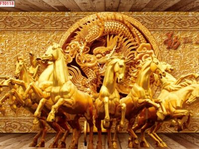 Mẫu tranh mã đáo mạ vàng
