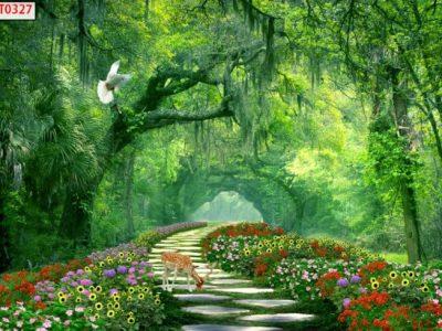 in tranh rừng cây màu xanh