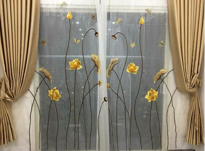 rèm thêu 2 lớp hoa sen